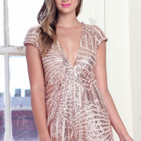 Sequin Romper - Rose Gold @ LushFox.com :: Current Fashion Trends & Styles
