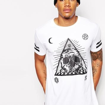 T-Shirt With Skull Triangle Print And