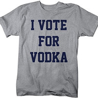 Shirts By Sarah Men's Funny Drinking T-Shirt Vote For Vodka Shirts