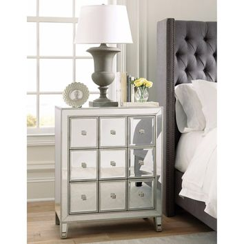 Appealing Metal Accent Cabinet With Multiple Drawers, Clear By Coaster