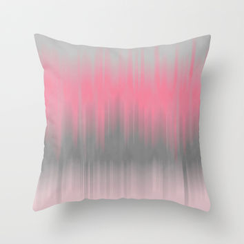 Dip Dye: Soft Pink and Grey Throw Pillow by Kat Mun