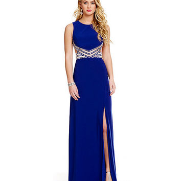 Blondie Nites Illusion Beaded Waist Gown | Dillards