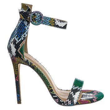 Tisha14 Snake Print High Heel Sandal - Women Open Toe Ankle Strap Shoe