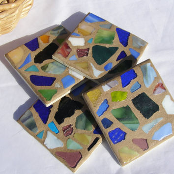 Earth Tones Glass Mosaic Coasters  Beach Glass  Unisex Coaster  Coastal Living  Beach Decor Hostess Gift  Beach House