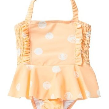 Jessica Simpson | Peach Melba Dot One-Piece Swimsuit (Baby Girls 24M) | Nordstrom Rack