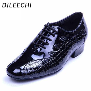 DILEECHI new arrival adult men's modern dance shoes black leather Latin dance shoes sandals sneakers men teacher dance shoes