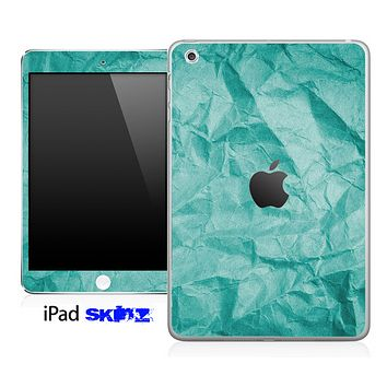 Aqua Green Crumpled Paper Skin for the iPad Mini or Other iPad Versions