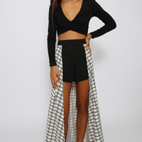 Love Indie - Checkers Overlay Maxi Shorts - Black/White