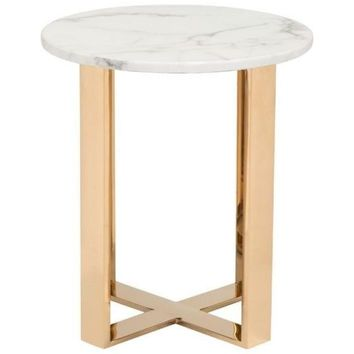 ZUO Modern Atlas End Table Stone & Gold 100656 Living Coffee/Side/Consoles