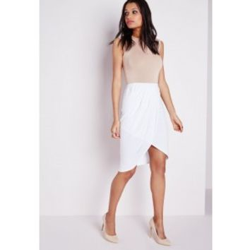 Wrap Front Jersey Midi Skirt White - Skirt - Missguided