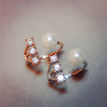 Gift Shiny Jewelry Stylish New Arrival Korean Pearls Ring [6586162055]