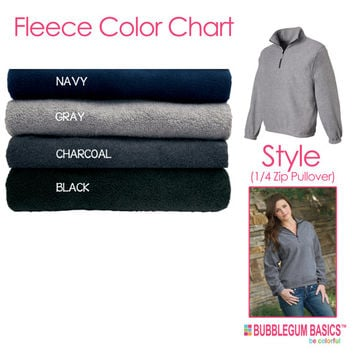 Personalized Embroidered Monogram Quarter-Zip Fleece Pullover Jacket Custom Initials - Great for Fall Winter Many Colors to Choose From