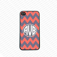 Monogram iPhone 5s case, Monogram Iphone 5 Case, Gray and orange chevron monogram iPhone 5 Cover,Monogram Case