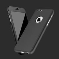2016 New 360 Degrees Full Coverage Case For iPhone 6 6s 4.7 For iPhone 6 6s Plus 5.5 Coque Matte Back Hard Phone Case With Glass
