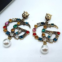 8DESS GUCCI Women Fashion Rhinestone Ear Studs Earrings Jewelry