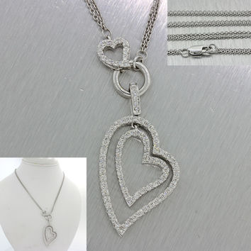 Modern 14k Solid White Gold 1ctw Diamond Double Heart Pendant Chain Necklace