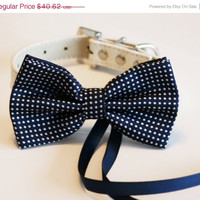 Navy Dog Bow Tie, Dog ring bearer, Pet Wedding accessory, Pet lovers, Navy bow attached to White dog collar