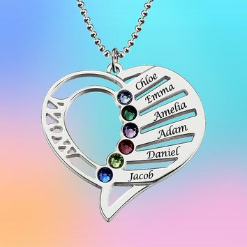 Birthstone Necklace Family Mom Birthstones Jewelry Personalized Heart Pendant 925 Sterling Silver