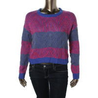 Rewind Womens Juniors Striped Chevron Pullover Sweater