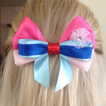 Mulan Warrior Princess Pink and Blue Bow Medium Sized, When Will My Reflection Show by Design Bowtique