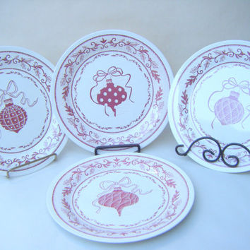 Set of 4 Vintage Tin Christmas Dessert Plates with Ornament Designs Red and Ivory Dishes Decor Holiday
