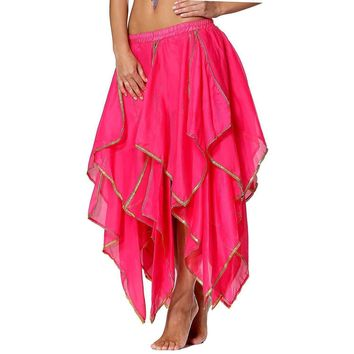 Indian Chic Hot Pink Sequin Chiffon Salsa Maxi Party Skirt