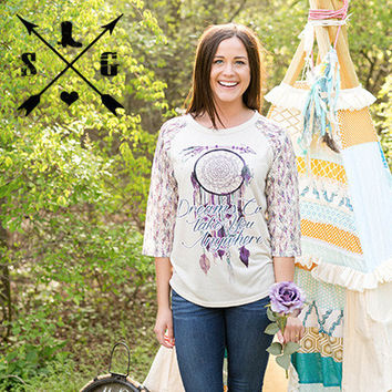 Dreams Can Take You Anywhere on Cream with Arrow Design Lace Sleeves