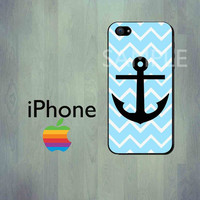 Tiffany Blue Chevron Anchor iPhone Case - iPhone 4 Case or iPhone 5 Case