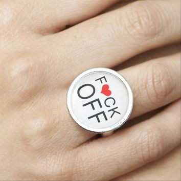 F Heart CK Off Customizable Rings