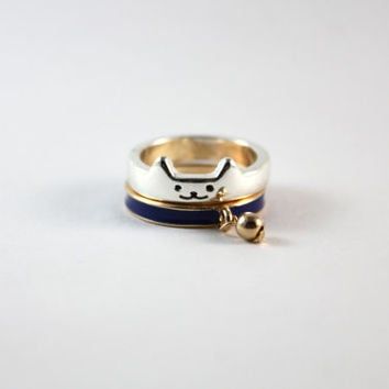 Super cute kitty stackable ring, two pieces adorable cat ring, silver and gold color, great gift for teenage girl and cat lover.