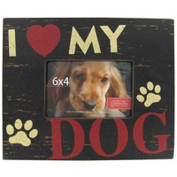 "6"" x 4"" Black I Love My Dog MDF Picture Frame 