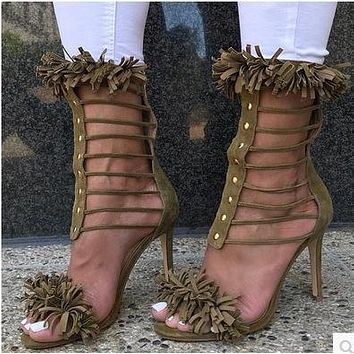 Tassels Stiletto Heel PU Peep-toe Zipper High Heels Sandals Pumps