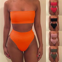 Women Solid Color High Waist Bikini Set Push-up Bra Swimsuit Bathing Suit Bandeau Belly Swimwear GLANE