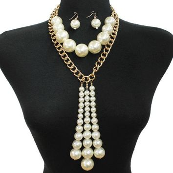 "15.50"" gold chain cream faux pearl choker multi layered necklace 1"" earrings 11"" drop"