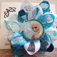 Frozen Elsa Loopy Hair Bow, Princess Hair Bow, Baby Girls Hair Bow