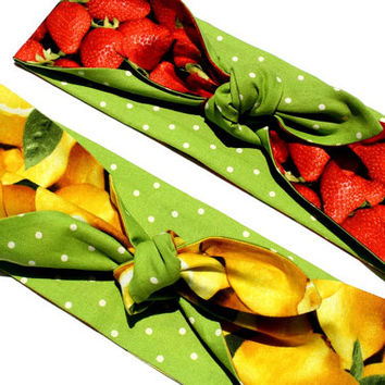 Vintage Inspired Head Scarf, Tooty Fruity, Strawberry or Lemons