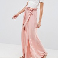 ASOS Maxi Skirt with Belt and Thigh Split at asos.com