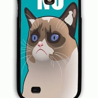 Samsung Galaxy S4 Case - Rubber (TPU) Cover with Cactus the Cranky Cat Rubber Case Design
