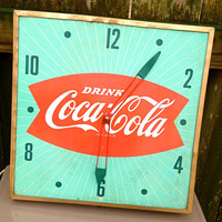 vintage Coca Cola clock - 1960s atomic collectible RARE Pam clock