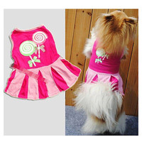 Princess Bow Dog Pet Puppy Dress Skirt Layered Clothes Apparel Costume LS US