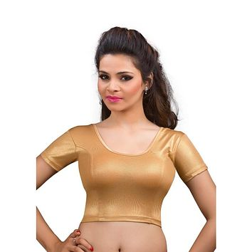 Designer Indian Copper Shimmer Non-Padded Stretchable Half Sleeves Saree Blouse Crop Top (A-17)