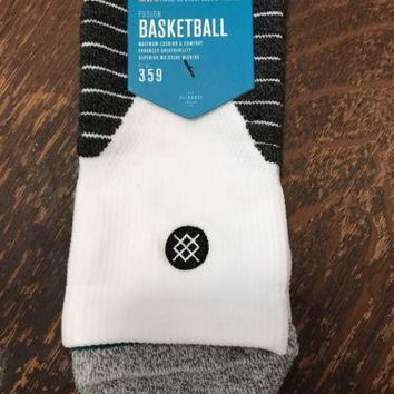 Stance Fusion Quarter Basketball 359 SOLID QTR White Socks XL 13-16 NBA $22