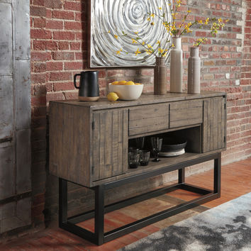 Ashley Furniture D579-80 Cazentine grayish brown finish solid pine wood dining server buffet side board cabinet