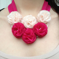 Pink Statement Necklace Beaded Pink Powder Necklace Bow / Pink and Powder