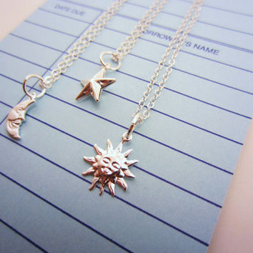 Silver sun, moon, star friendship necklaces. Set of two or three three, bright silver-plated tiny charms. Two-sided star. Best friend gift.