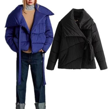 Trendy Female Anorak Puffer Jacket Winter Women Asymmetric Collar Bow-knot Black Coat Lady Fashion Streetwear Baseball Spliced Outwear AT_94_13