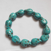 Two-sided  howlite skull bracelet