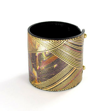 Leather Wallet Cuff / Bracelet Purse - Gold Eye