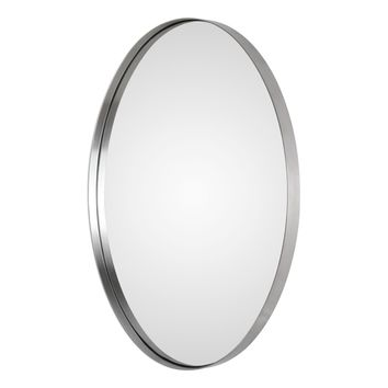 Pursley Contemporary Brushed Nickel Oval Framed Wall Mirror by Uttermost