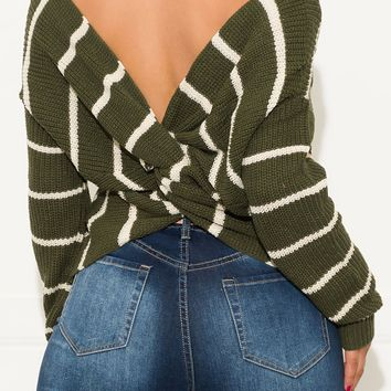 Working On It Faux Wrap Sweater Olive